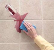 clean bathroom grout
